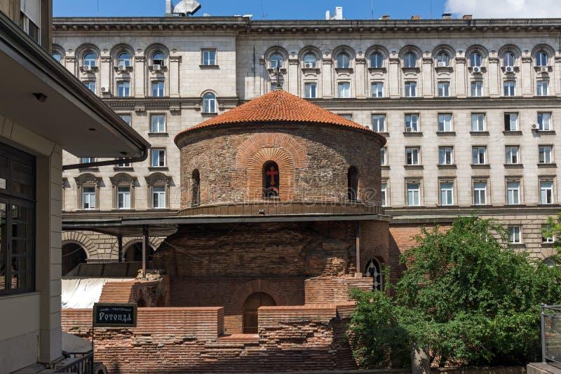 Verbazende mening van Kerk St George Rotunda binnen in Sofia, Bulgarije royalty-vrije stock afbeeldingen