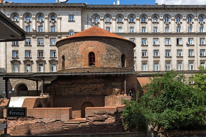 Verbazende mening van Kerk St George Rotunda binnen in Sofia, Bulgarije stock fotografie