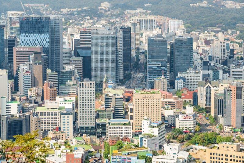 Verbazende mening van Seoel van Namsan-Berg, Zuid-Korea stock fotografie