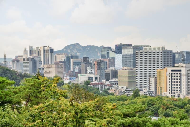 Verbazende mening van Seoel in Zuid-Korea Mooie cityscape royalty-vrije stock afbeelding