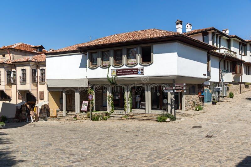 Verbazende mening van Straat en huizen in de oude stad van Plovdiv, Bulgarije royalty-vrije stock afbeelding