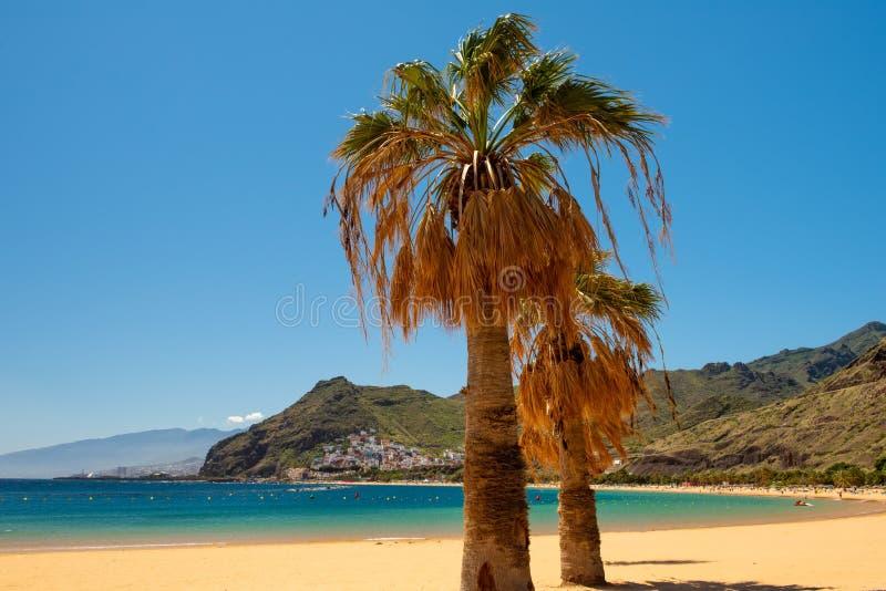 Verbazende mening van strand las Teresitas Tenerife royalty-vrije stock foto