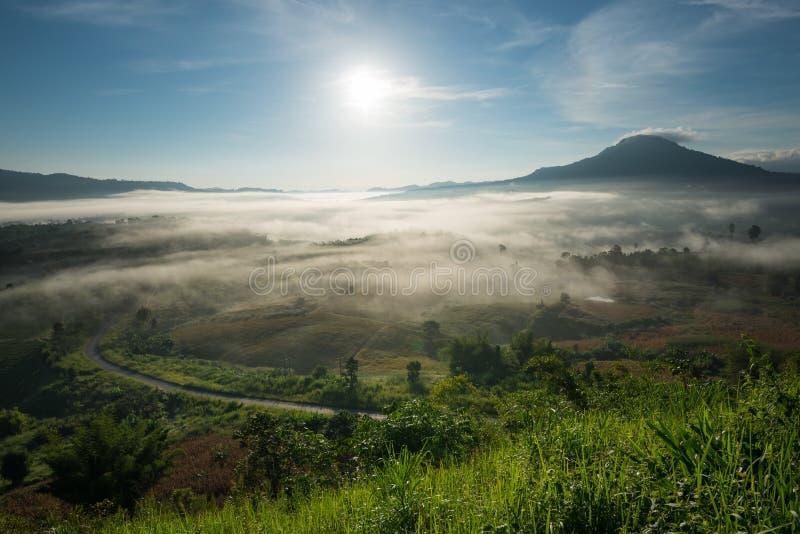 Verbazende mooie nevelige ochtend in Thailand stock afbeelding