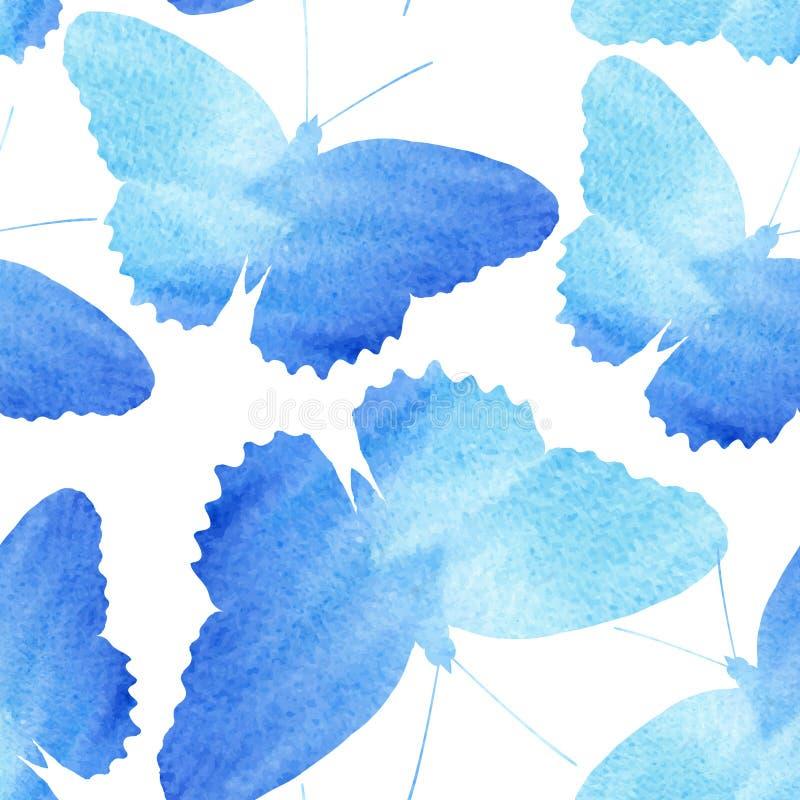 Verbazende naadloze die achtergrond met vlinders met waterverf wordt geschilderd vector illustratie
