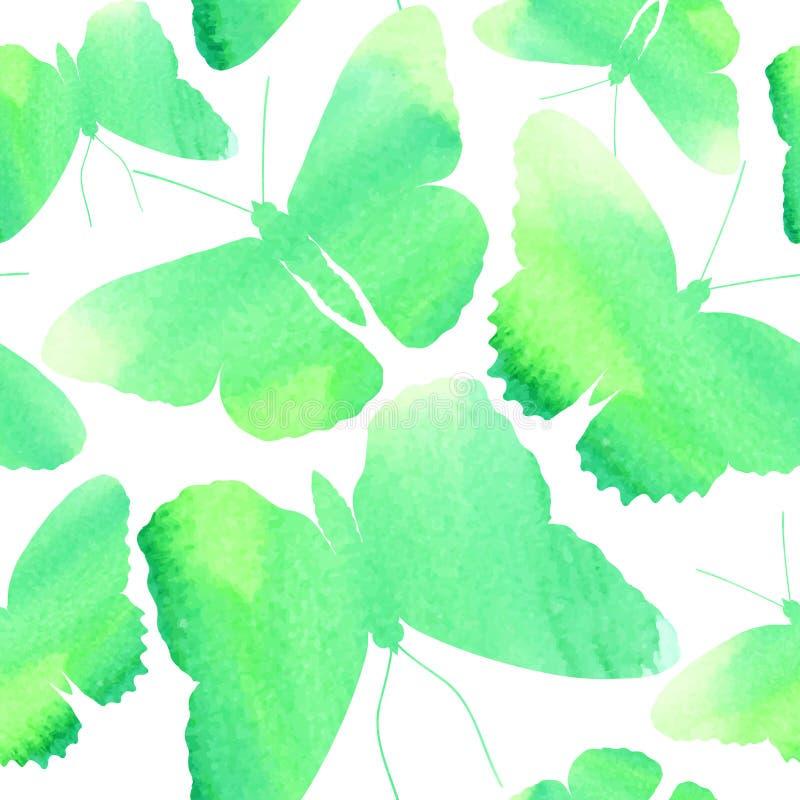 Verbazende naadloze die achtergrond met vlinders met waterverf wordt geschilderd royalty-vrije illustratie