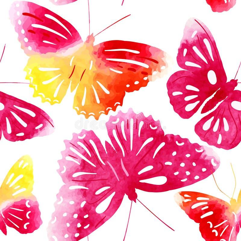 Verbazende naadloze die achtergrond met vlinders met waterverf wordt geschilderd stock illustratie