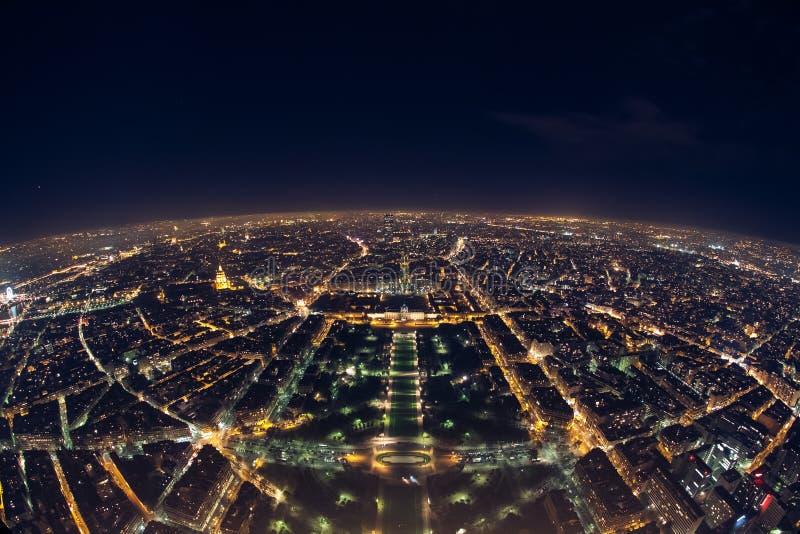 Verbazende nachtmening van de Franse toren van Eiffel; mooie horizon o royalty-vrije stock fotografie