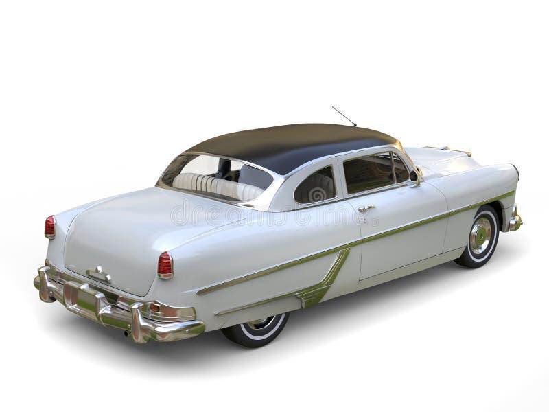 Verbazende oude convertibele witte auto met zwart dak vector illustratie