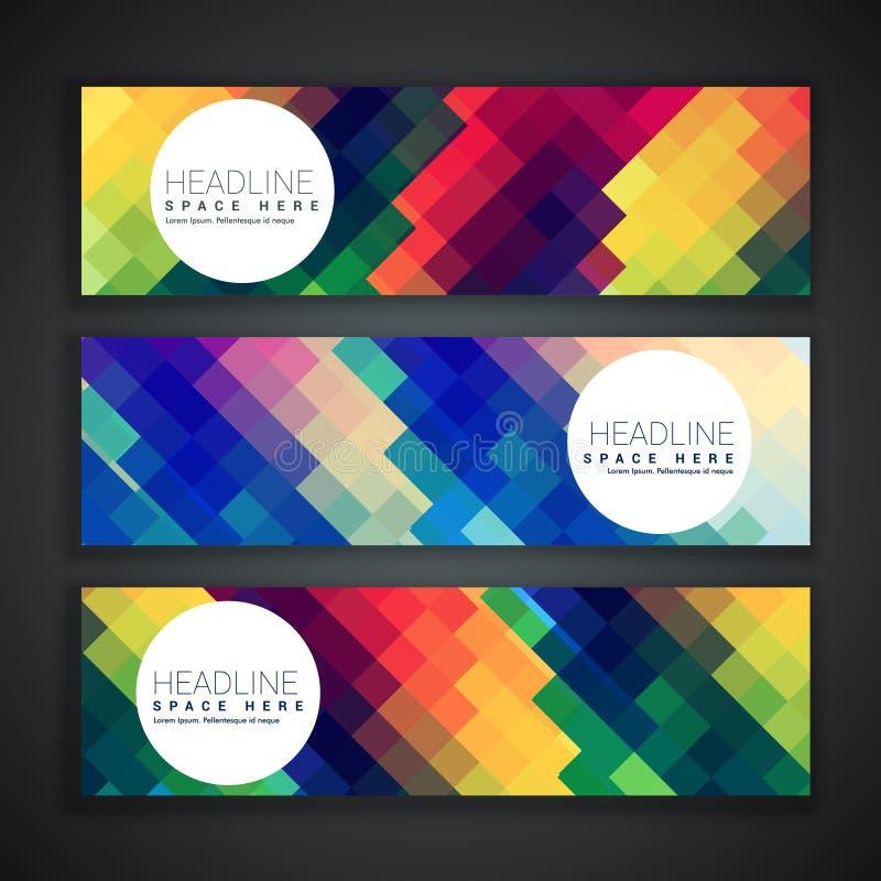 Verbazende reeks van drie banners in kleurrijke abstracte vormen vector illustratie