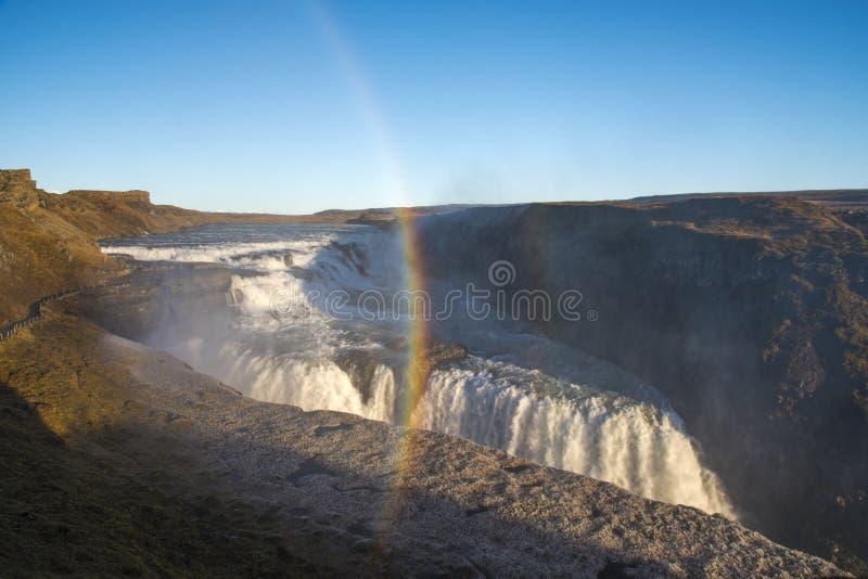 Verbazende reusachtige mooie waterval Gullfoss, beroemd oriëntatiepunt in Ic royalty-vrije stock fotografie