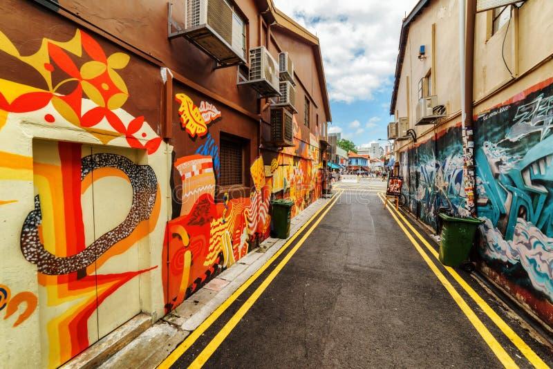 Verbazende straatkunst door een onbekende kunstenaar in Singapore royalty-vrije stock foto's