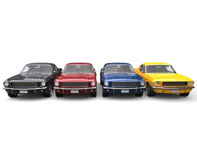 Verbazende uitstekende Amerikaanse spierauto's in metaal rood, zwart, blauw en geel stock illustratie
