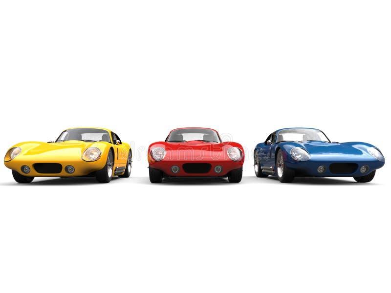 Verbazende uitstekende sportwagens in primaire kleuren royalty-vrije illustratie