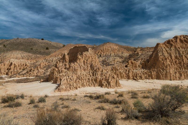 Verbazende woestijnmening van de vormingen van de bentonietklei in het Park van de Staat van de Kathedraalkloof in Nevada royalty-vrije stock fotografie