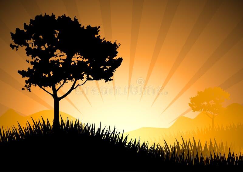 Verbazende zonsondergang stock illustratie