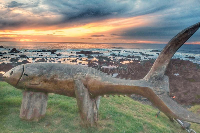 Verbazende Zonsondergang in het Eiland van Rapa Nui, Chili stock afbeelding