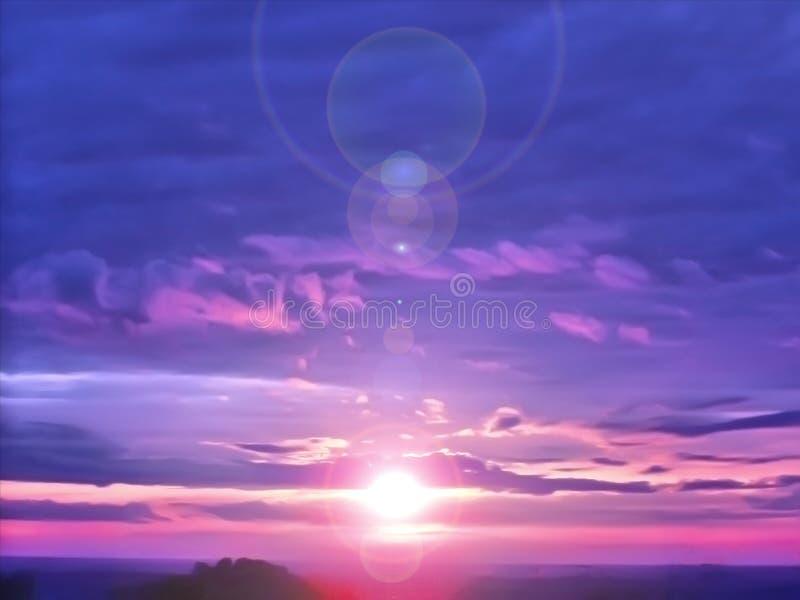 Verbazende zonsondergang kleurrijke zon in de wolken royalty-vrije stock afbeeldingen