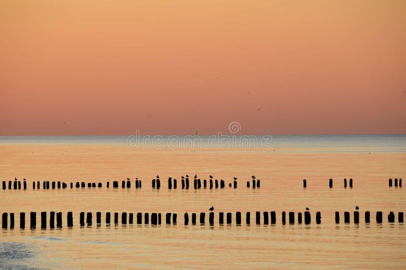 Verbazende zonsondergang over het overzees baltisch royalty-vrije stock foto's