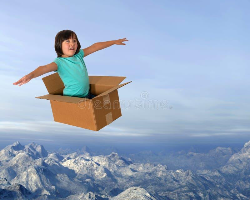 Verbeelding, het Vliegen, Meisje, Speeltijd, Pret, Kinderjaren royalty-vrije stock afbeelding