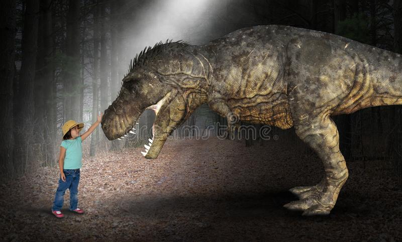 Verbeelding, Pret, Spel, Meisje, Dinoaur royalty-vrije stock foto's