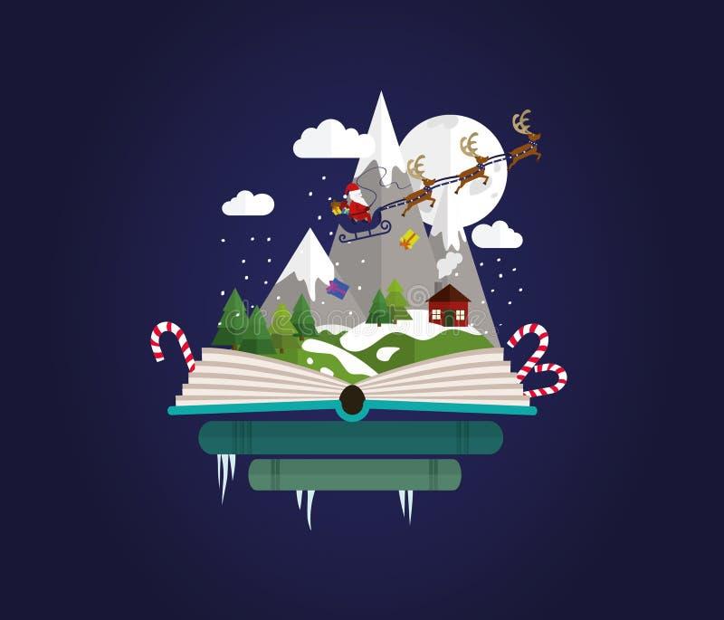Verbeeldingsconcept - het de staartverhaal van de Kerstmisfee komt een boek naar voren Boekhandelkerstmis vector illustratie