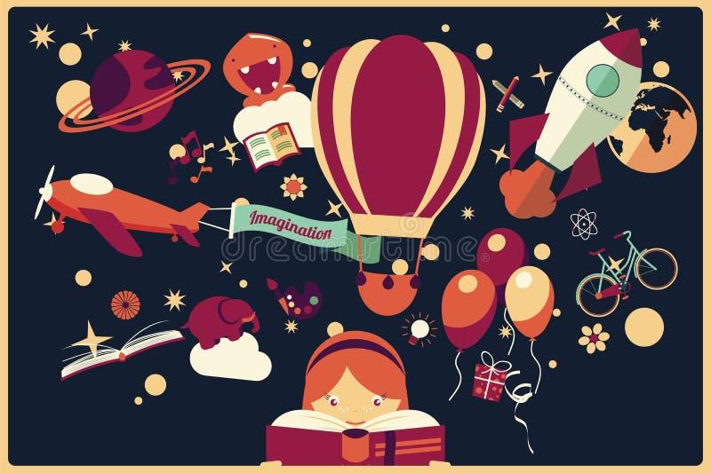 Verbeeldingsconcept - meisje die een boek met luchtballon lezen, rots stock illustratie