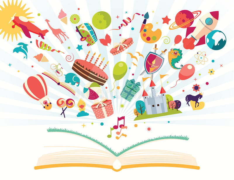 Verbeeldingsconcept - open boek met luchtballon, raket die, vliegtuig uit vliegen vector illustratie
