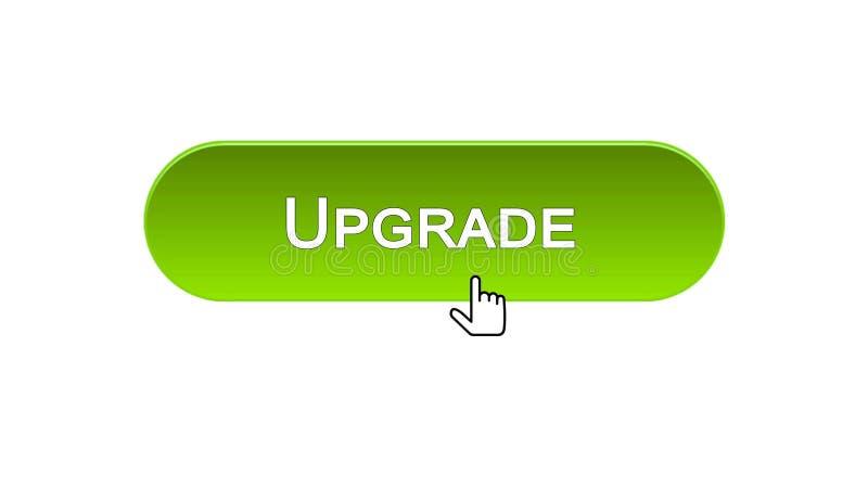 Verbessern Sie den Netzschnittstellenknopf, der mit Mauscursor, grüne Farbe, Aktualisierung geklickt wird vektor abbildung