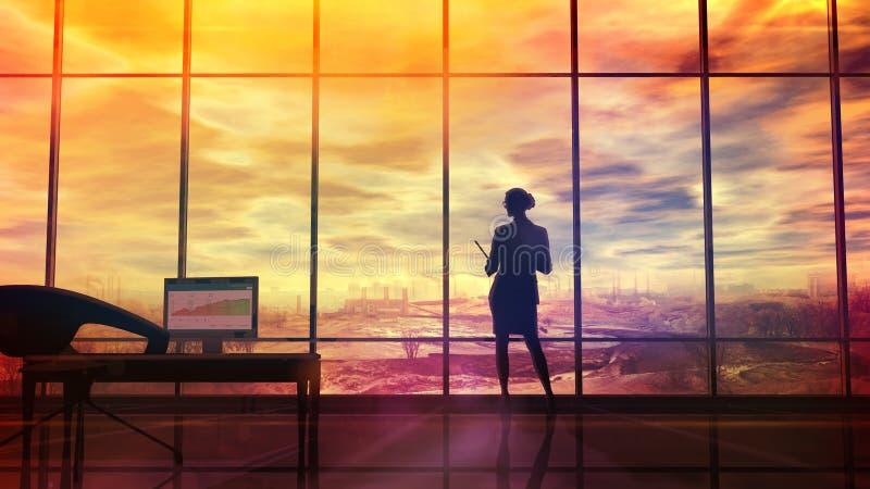 Verbessern Sie die Klimasituation, das Schattenbild einer Frau im Büro vektor abbildung