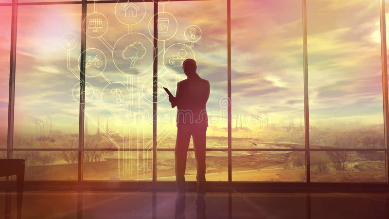 Verbessern Sie die Klimasituation, das Schattenbild eines Mannes im Büro vektor abbildung