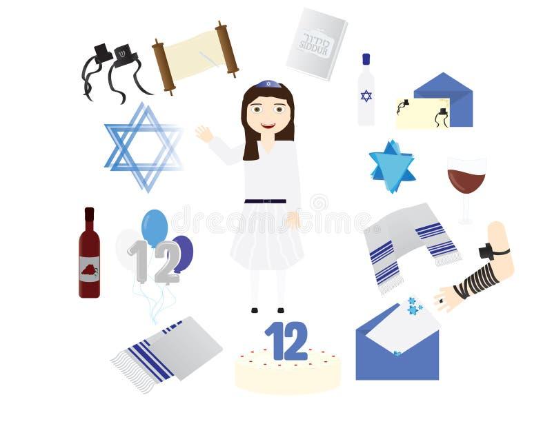 Verbessern Sie jüdisches Mädchen mit traditionellen Bat Mitzvah Elementen stock abbildung