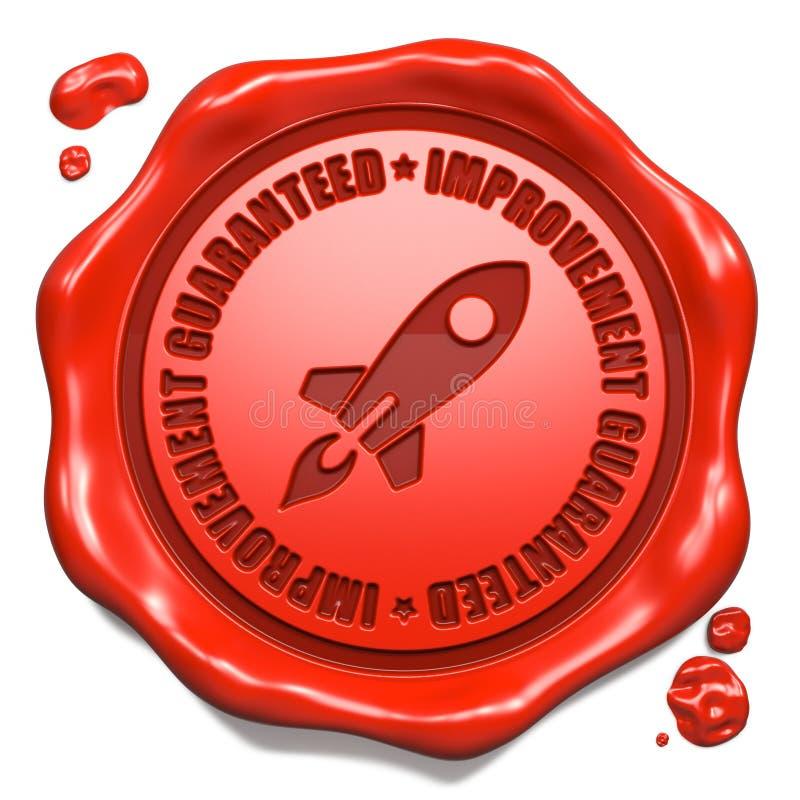 Verbesserung garantiert - Stempel auf rotem Wachssiegel. stock abbildung