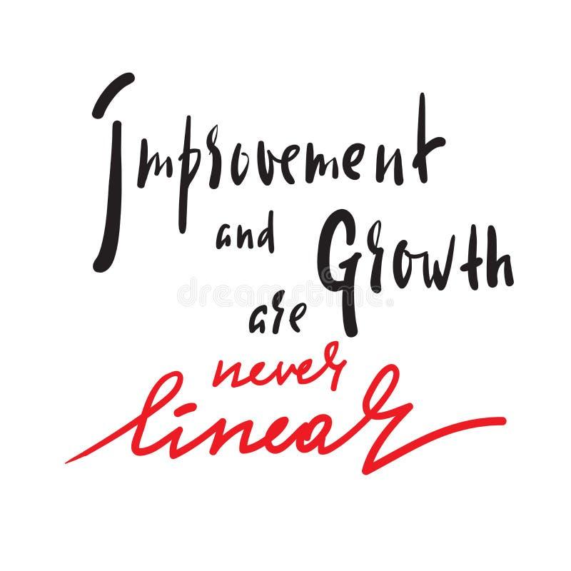 Verbesserung und Wachstum ist nie linear - Motivzitat anzuspornen stock abbildung