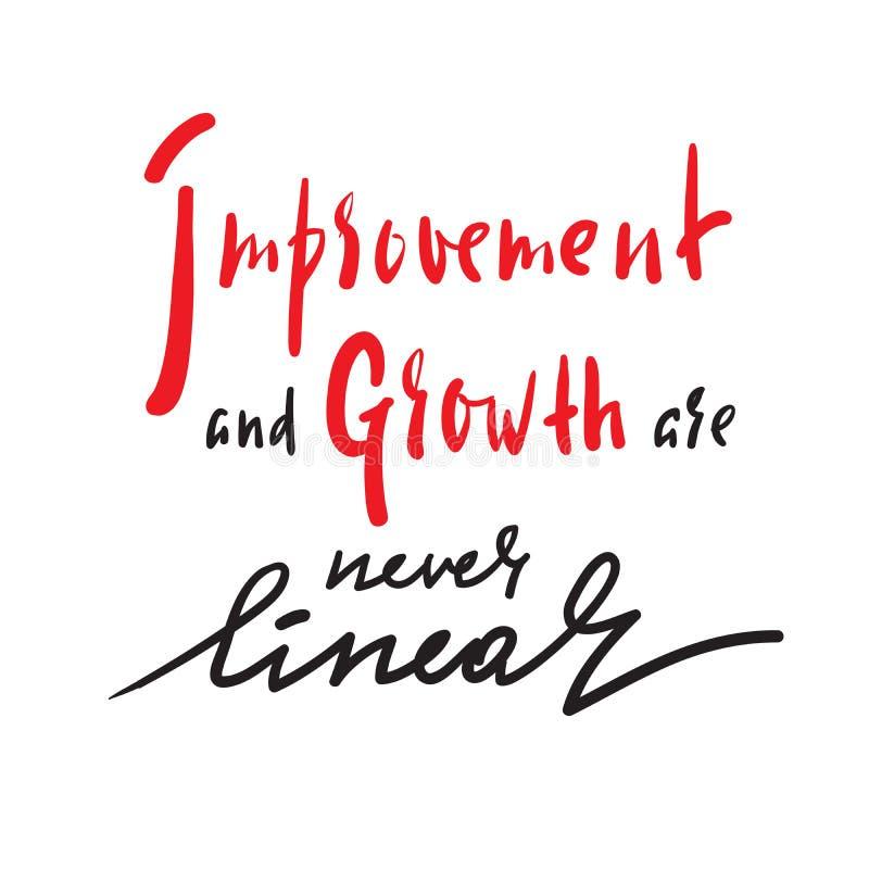 Verbesserung und Wachstum ist nie linear - Motivzitat anzuspornen Hand gezeichnete schöne Beschriftung lizenzfreie abbildung