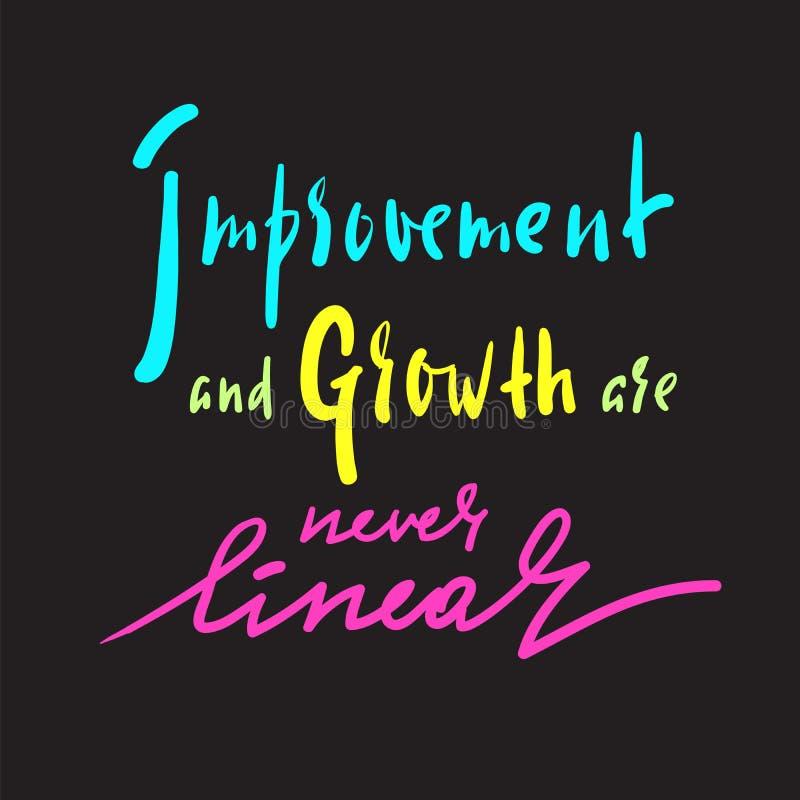 Verbesserung und Wachstum ist nie linear - Motivzitat anzuspornen Hand gezeichnete schöne Beschriftung vektor abbildung