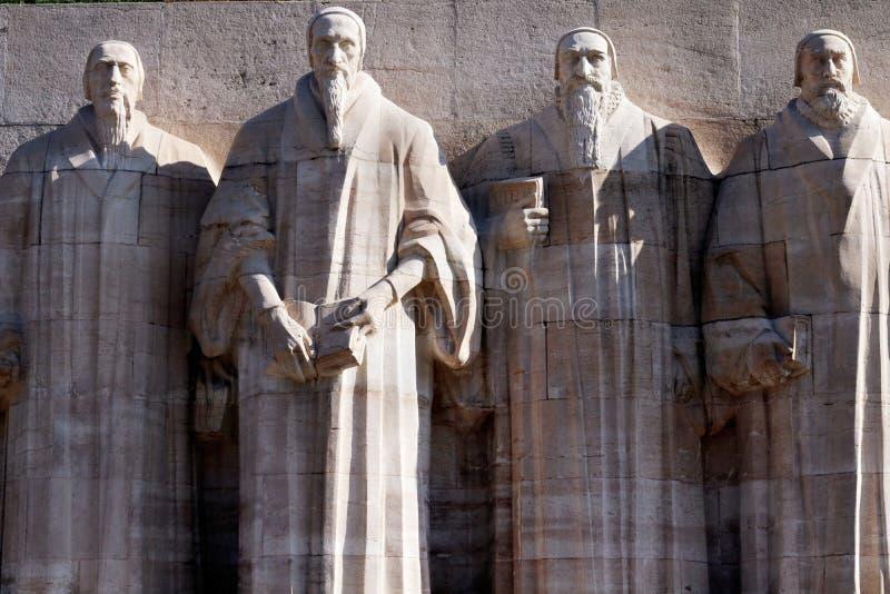 Verbesserungswand in Genf, die Schweiz Calvin, Protestantismus lizenzfreie stockbilder