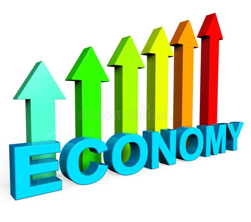 Verbeter Economie toont Bedrijfsgrafiek en Vooruitgang stock illustratie