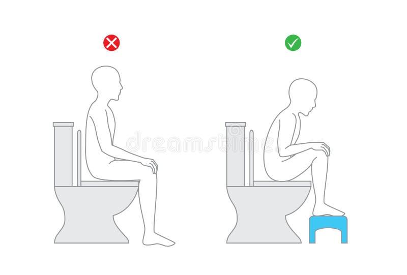 Verbeter houding wanneer het zitten op toiletzetel voor gezond royalty-vrije illustratie