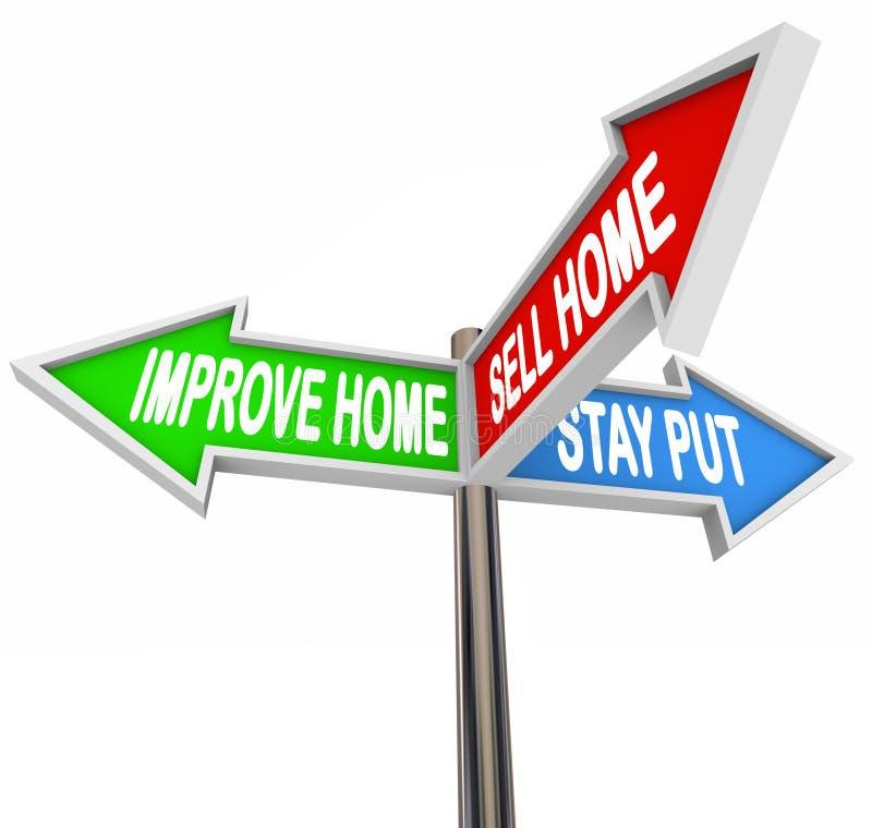 Verbeter Huis verkopen Huisverblijf zetten Drie 3 Pijltekens beslissen Lijst vector illustratie