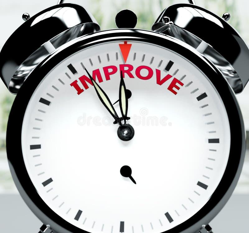 Verbeter snel, bijna daar, in korte tijd - een klok symboliseert een herinnering die Verbeteren dichtbij is, zal gebeuren en zal  stock illustratie