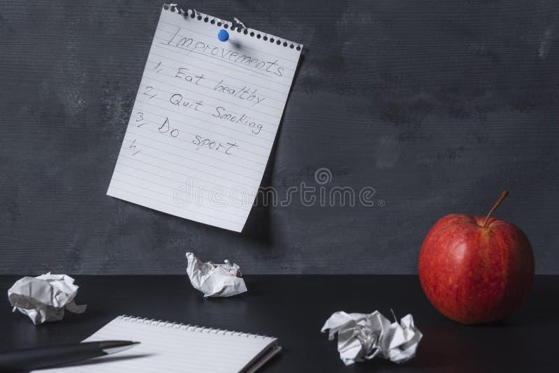 Verbeteringenlijst op een muur en een leeg notitieboekje op een bureau wordt gespeld dat stock afbeelding