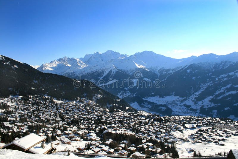 Verbier. View over the town of Verbier, Switzerland royalty free stock images