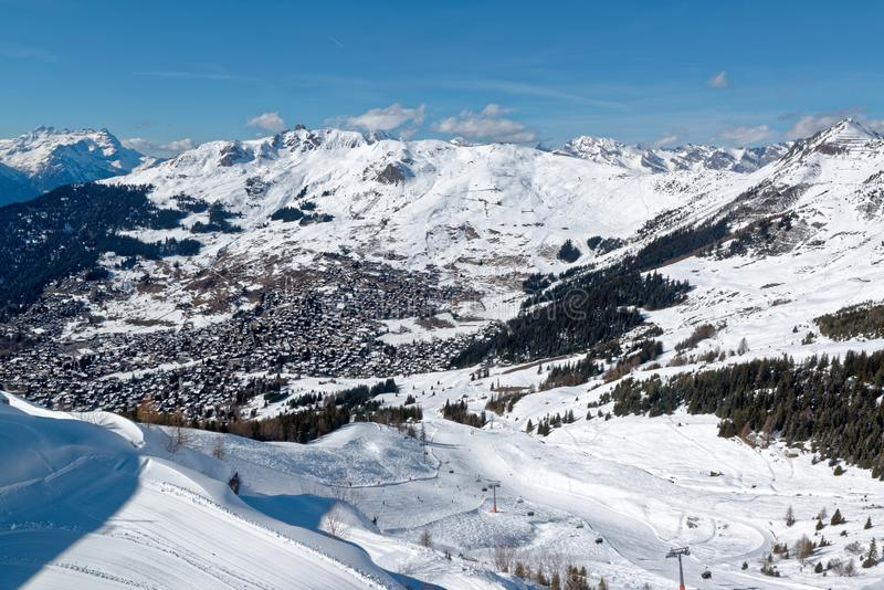 Verbier resort in Switzerland. Verbier is a village located in south-western Switzerland in the canton of Valais. It is a holiday resort and ski area in the stock image