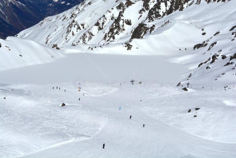 Verbier Skiing. Skiing at the swiss luxury resort of Verbier in Southern Switzerland stock photo