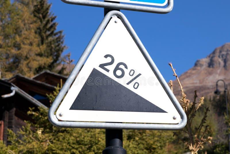 Verbier, Szwajcaria/: 9 9 18: Szyldowy deskowy drogowy skłonu ostrzeżenia panel fotografia stock