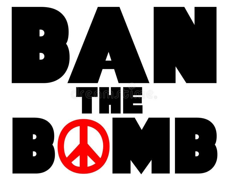Verbieten Sie das Bomben-Friedenszeichen Logo Illustration stock abbildung