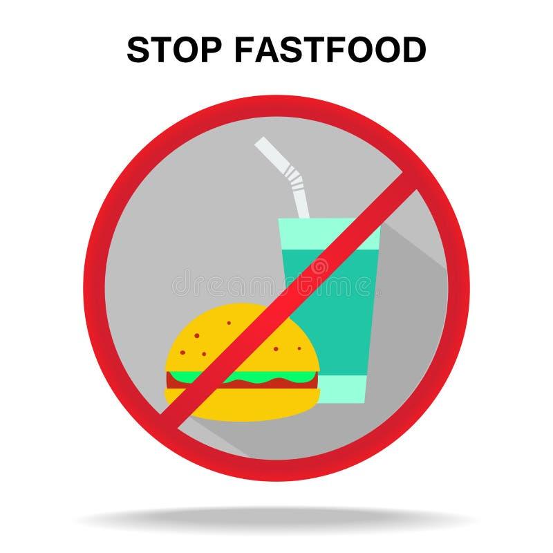 Verbietendes Zeichen des Fastfoods vektor abbildung
