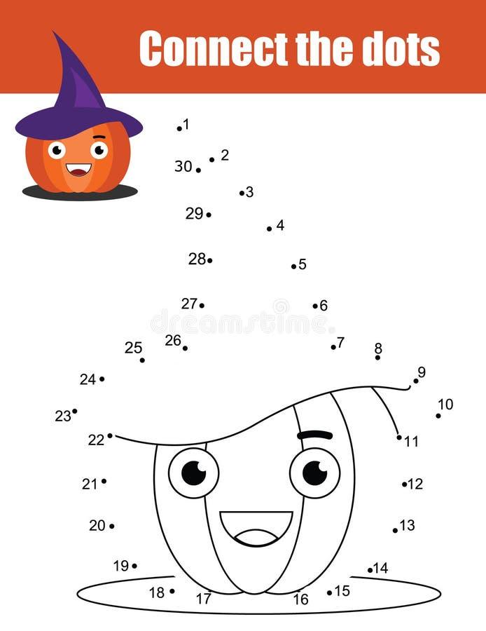 Verbind de punten door het onderwijsspel van aantallenkinderen Halloween-thema, pompoen royalty-vrije illustratie