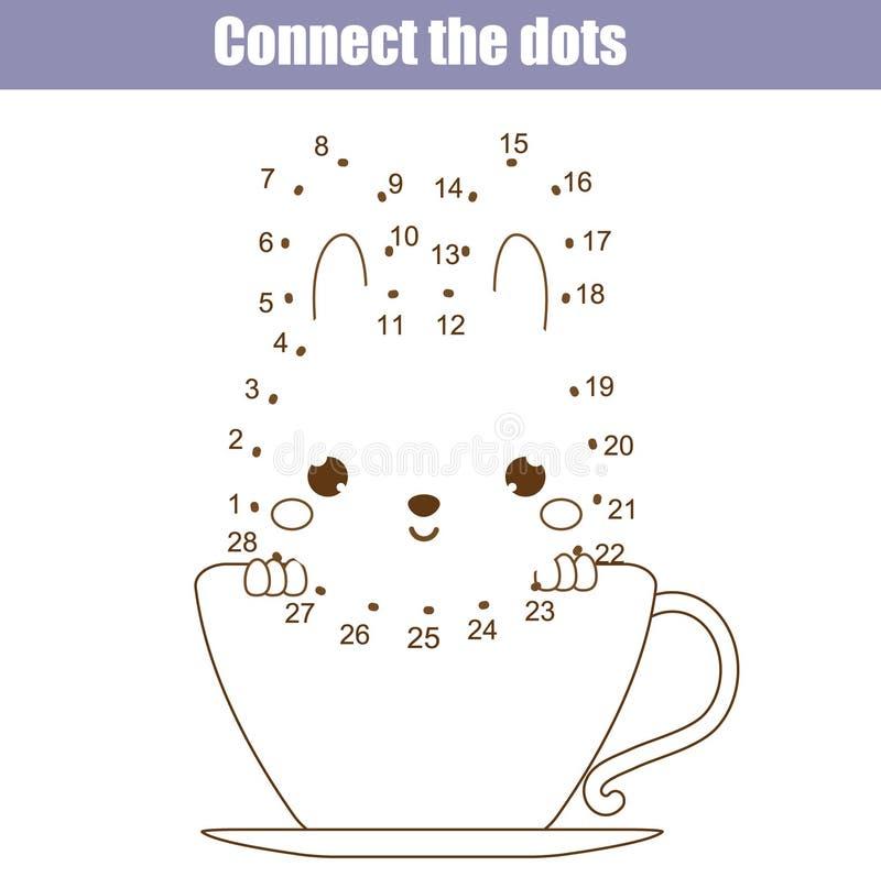 Verbind de punten door het onderwijsspel van aantallenkinderen Voor het drukken geschikte aantekenvelactiviteit Dierenthema stock illustratie
