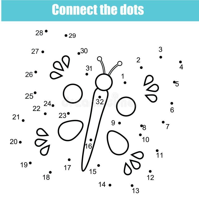 Verbind de punten door het onderwijsspel van aantallenkinderen Voor het drukken geschikte aantekenvelactiviteit Vlinder stock illustratie